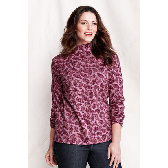 Lands End 426122 Women's Cotton Mock Turtleneck XS X-SMALL 2-4 Plum Pink Paisley - Better Bath and Beauty