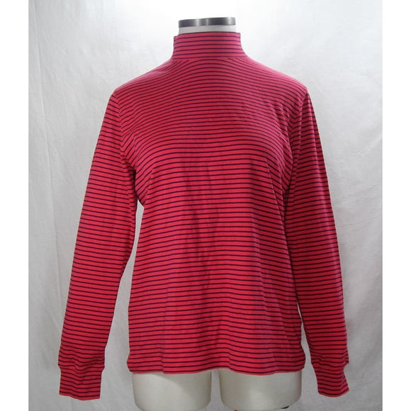 Lands End 435627 Plus Size Cotton Mock Turtleneck 0X Size 14W Cherry Stripe NWT - Better Bath and Beauty