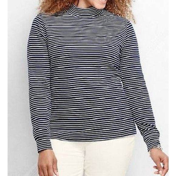 Lands End 435627 Plus Size Mock Turtleneck 0X Size 14W Midnight Indigo & Ivory - Better Bath and Beauty