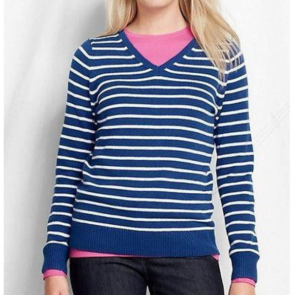 Lands End 437504 Stripe Lofty Cotton Blend V-neck Sweater MEDIUM 10-12 Cobalt - Better Bath and Beauty