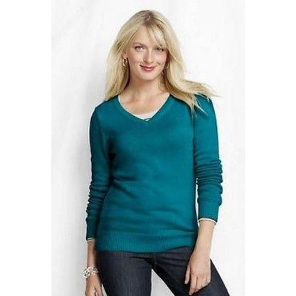 Lands End 437507 Cotton Blend Lofty V-neck Sweater PETITE XL Size 18 Capri Seas - Better Bath and Beauty