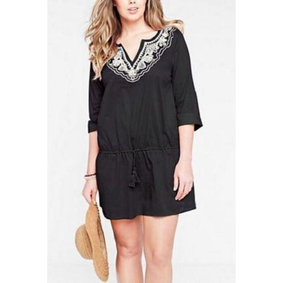 Lands End 439105 Cotton Embroidered Drawstring Voile Cover-up MEDIUM 10-12 Black - Better Bath and Beauty