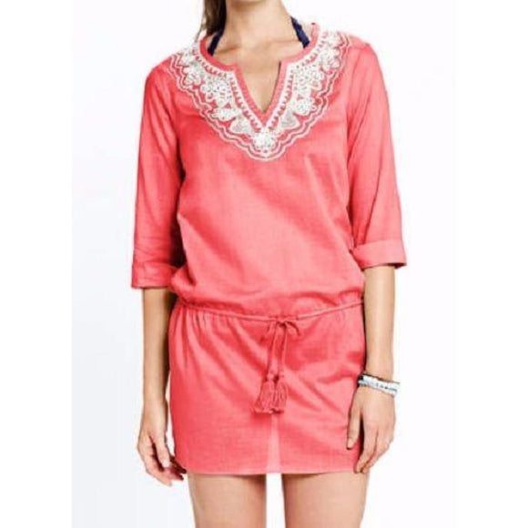 Lands End 439105 Cotton Embroidered Drawstring Voile Cover-up MEDIUM Coral NWT - Better Bath and Beauty