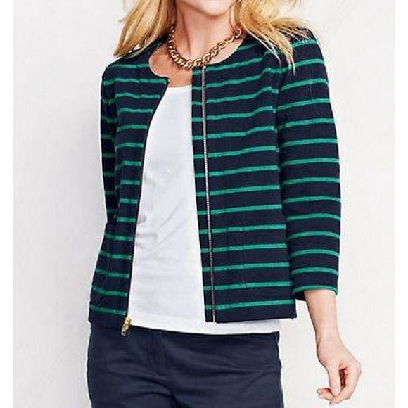 Lands End 439738 Heritage Zip Jersey Jacket Size 4 Classic Navy Stripe NWT - Better Bath and Beauty