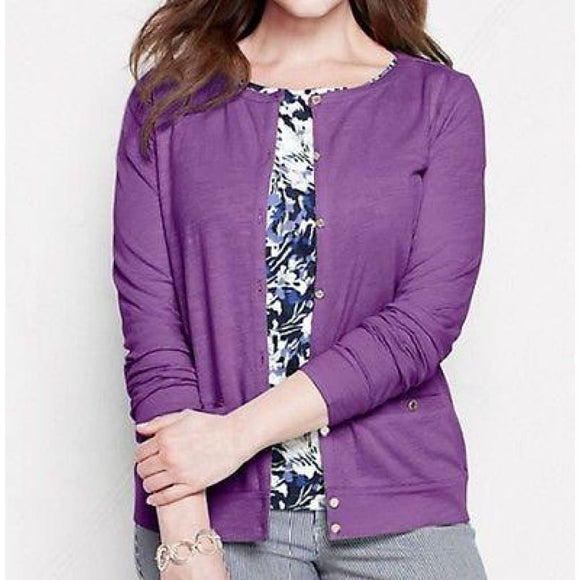 Land's End 439819 Plus Size Button Cardigan 0X 14W Light English Violet NWT - Better Bath and Beauty