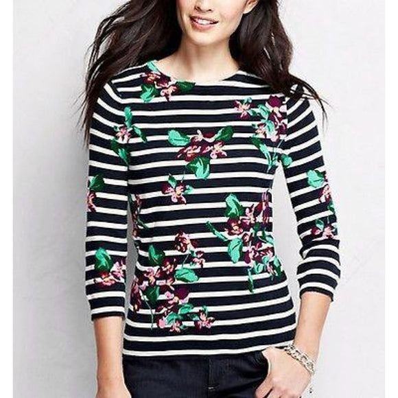 Lands End 441197 Supima 3/4 Sleeve Crewneck Sweater LARGE 14-16 Mauve Floral - Better Bath and Beauty