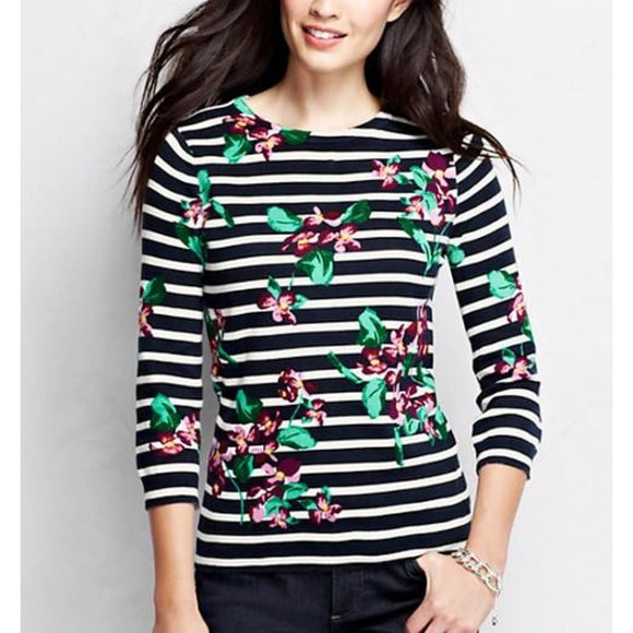 Lands End 441197 Supima 3/4 Sleeve Crewneck Sweater XL X-LARGE 18 Mauve Floral - Better Bath and Beauty