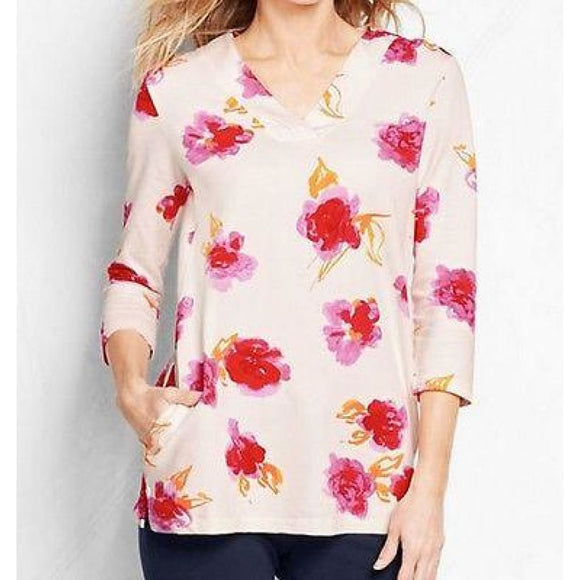 Lands End 441868 Starfish French Terry V-neck Tunic SMALL 6-8  Soft Rose Floral - Better Bath and Beauty