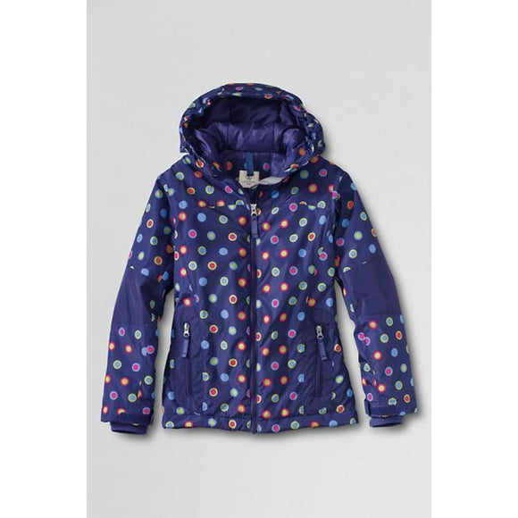 Lands End 443611 Girls Stormer Jacket XL X-LARGE (16) Ultramarine Circle Dot NWT - Better Bath and Beauty