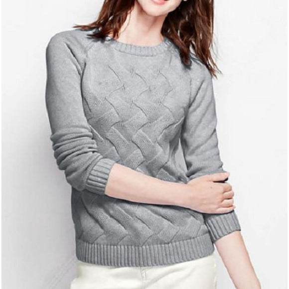 Land's End 447034 Drifter Texture Crewneck Sweater PETITE XL 18 Slate Gray NWT - Better Bath and Beauty
