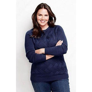 Land's End 447034 Drifter Texture Crewneck Sweater REGULAR XS 2-4 Indigo NWT - Better Bath and Beauty