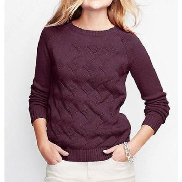 Land's End 447034 Drifter Texture Crewneck Sweater SMALL 6-8 Dark Maroon NWT - Better Bath and Beauty