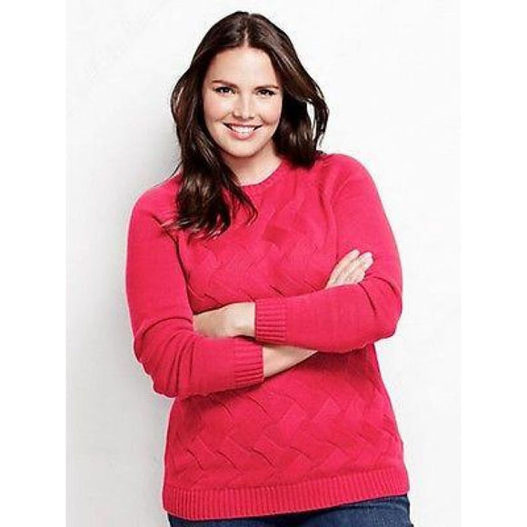 Lands End 447036 PLUS Drifter Texture Crewneck Sweater 2X 20W-22W Berry Rouge - Better Bath and Beauty