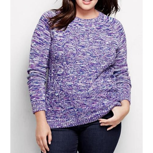 Lands End 447081 Drifter Cable Sweater PETITE MEDIUM 10-12 Brilliant Purple Marl - Better Bath and Beauty
