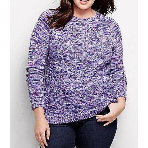 Land's End 447082 Plus Size Drifter Cable Sweater 1X 16W-18W Brilliant Purple - Better Bath and Beauty