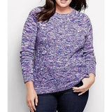 Land's End 447082 Plus Size Drifter Cable Sweater 2X 20W-22W Brilliant Purple - Better Bath and Beauty