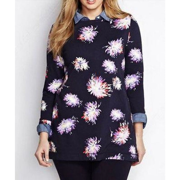 Lands End 447365 Starfish Boat Neck Tunic Top SMALL 6-8 Navy Painted Mums - Better Bath and Beauty