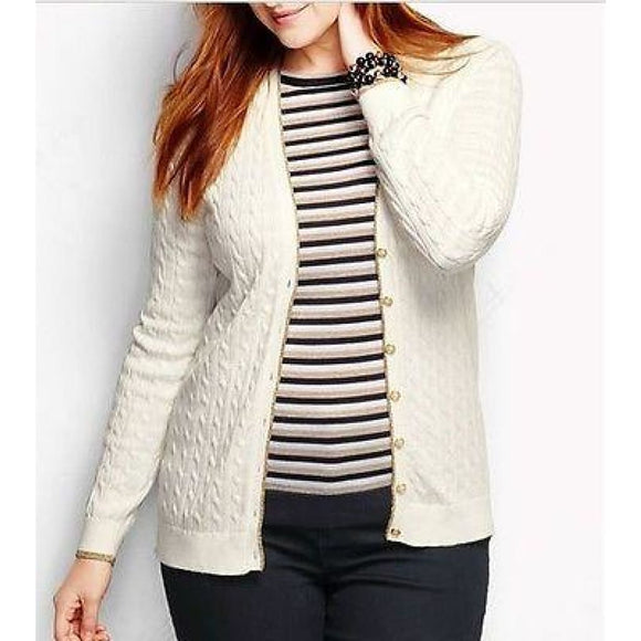 Land's End 448569 Tipped V-neck Cable Cardigan PETITE LARGE 14-16 Ivory Shimmer - Better Bath and Beauty