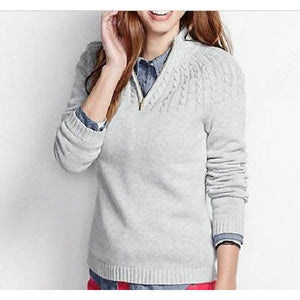 Land's End 448834 Drifter Cable Zip Mock Cardigan PLUS 1X 16W-18W Classic Gray - Better Bath and Beauty
