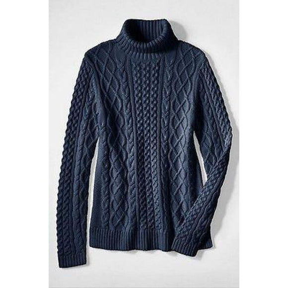 Land's End 448982 Lofty Blend Aran Cable Turtleneck Sweater REGULAR XS 2-4 Navy - Better Bath and Beauty