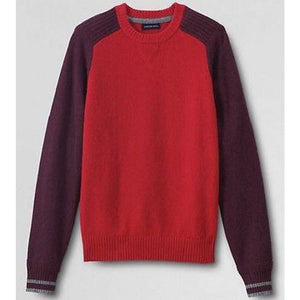 Lands End 449245 Lambswool Colorblock Crewneck Sweater XXL 50-52 Cinnabar NWT - Better Bath and Beauty