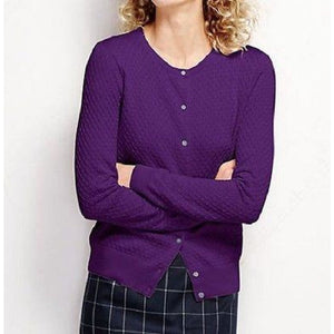 Land's End 451917 Supima Textured Cardigan Sweater REGULAR XS 2-4 Perfect Purple - Better Bath and Beauty