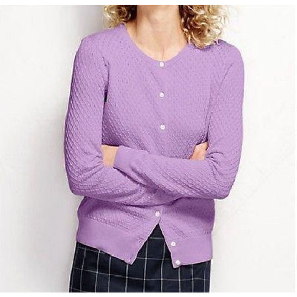 Land's End 451917 Supima Textured Cardigan Sweater XS 2-4 True Lilac NWT - Better Bath and Beauty
