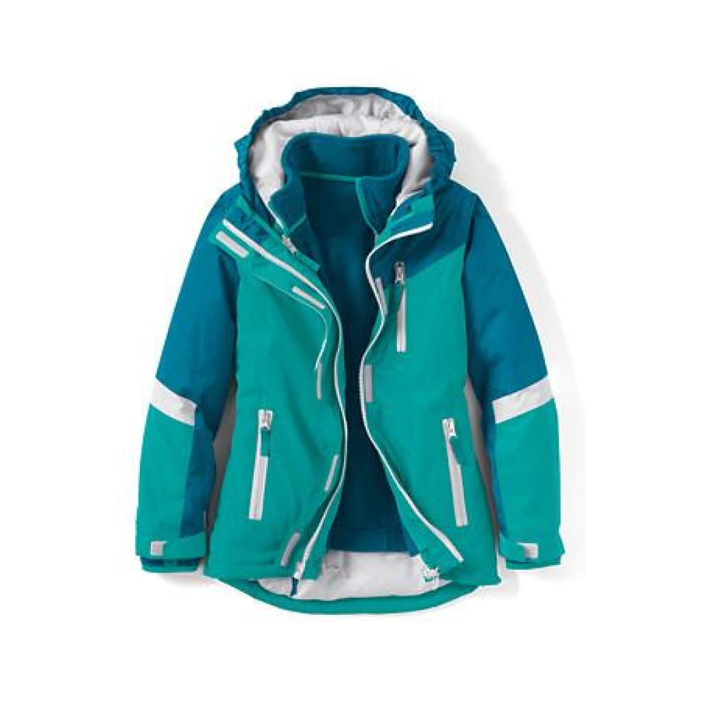 bfb454256 Lands End 456836 Little Girls 3-in-1 Stormer System Parka SMALL 4 Mosaic ...