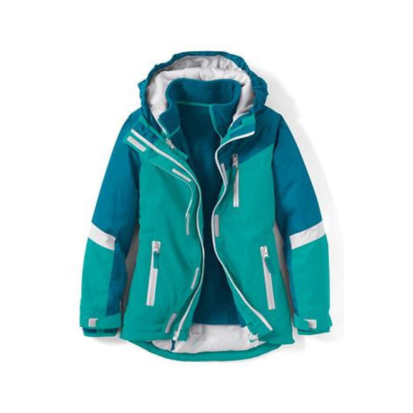 Lands End 456836 Little Girls 3-in-1 Stormer System Parka SMALL 4 Mosaic Teal - Better Bath and Beauty