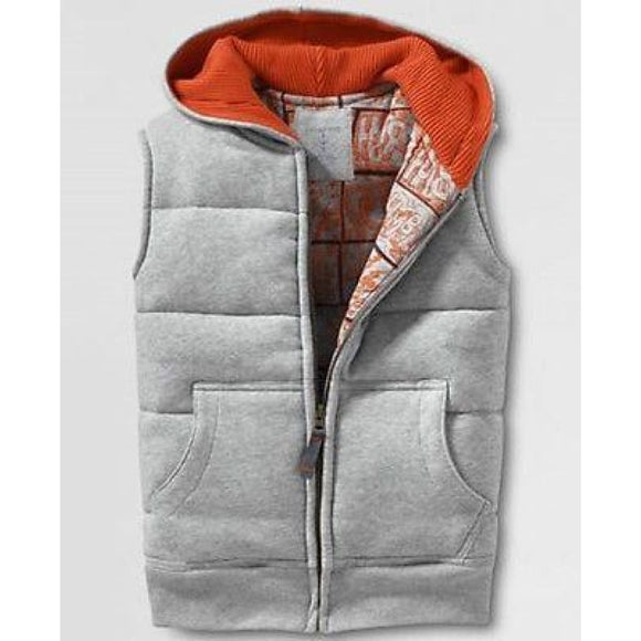 Land's Lands End Little Boys Full-zip Hoodie Vest MEDIUM 5-6 Gray Orange 420884 - Better Bath and Beauty