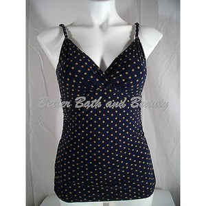 Lands End Shape & Enhance Dot Surplice Tankini Swim Suit Top 4 Navy Dot 429639 - Better Bath and Beauty