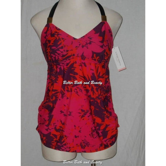 Liz Lange Maternity Halter Tankini Swim Suit Top Size SMALL Purple Red Black NWOT - Better Bath and Beauty