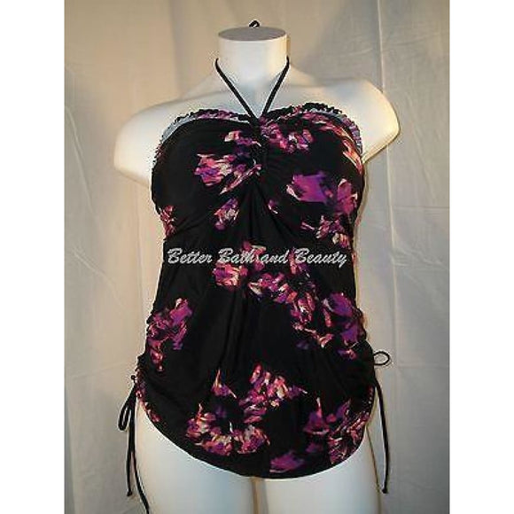 Liz Lange Maternity Halter Tankini Swim Suit Top SMALL Purple Floral NWT - Better Bath and Beauty