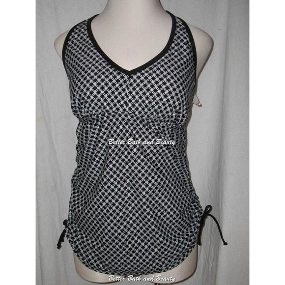 Liz Lange Maternity Racerback Tankini Swim Suit Top SMALL Black White Chainlink - Better Bath and Beauty