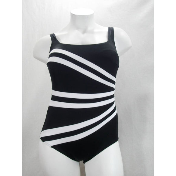 Longitude Colorblock Banded Fan Tummy Control One Piece Swimsuit 20W Black NWT - Better Bath and Beauty