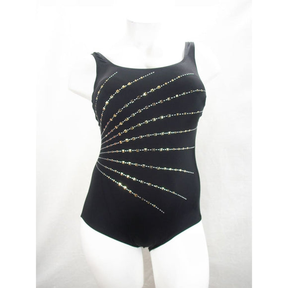 Longitude Embellished Fan Tummy Control One Piece Swimsuit 22W Gold & Black NWT - Better Bath and Beauty