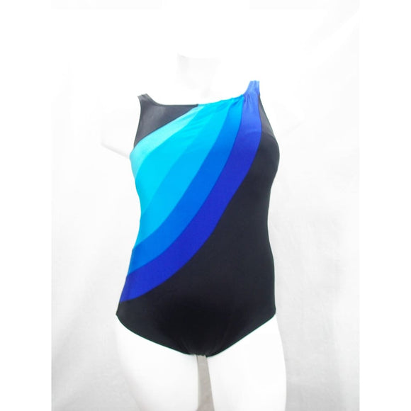Longitude Plus Colorblock Highneck Tummy Control One Piece Swimsuit 16W Blue NWT - Better Bath and Beauty
