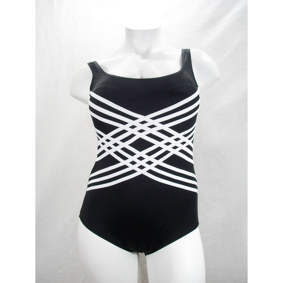 Longitude Plus Colorblock Overlay Tummy Control One Piece Swimsuit 18W Black NWT - Better Bath and Beauty