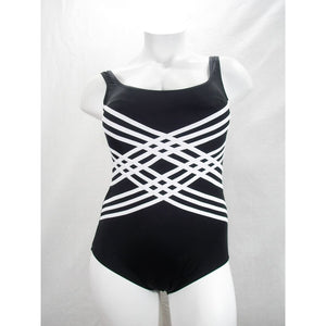 Longitude Plus Colorblock Overlay Tummy Control One Piece Swimsuit 24W Black NWT - Better Bath and Beauty