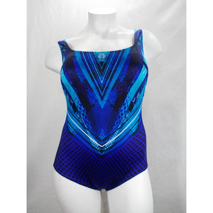 Longitude Plus Space Odyssey Scoopneck Tummy Control One Piece Swimsuit 20W Blue - Better Bath and Beauty