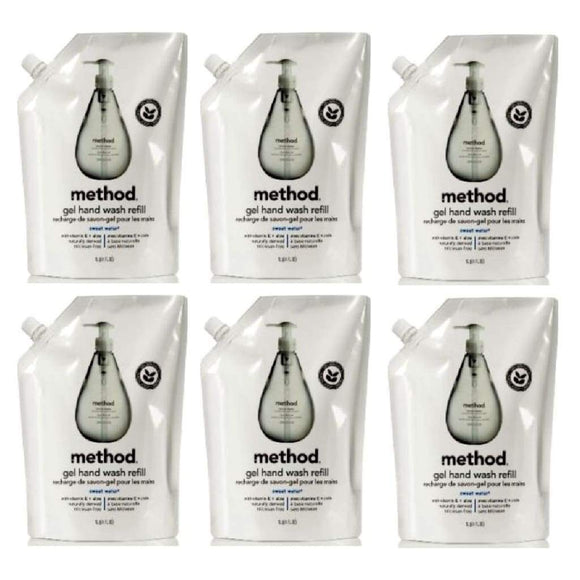LOT of SIX (6) Method Gel Hand Wash Soap Refills SWEET WATER 204oz TOTAL - Better Bath and Beauty