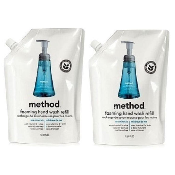 LOT of TWO 2 Method Foam Hand Wash Soap Refills SEA MINERALS 56oz - Better Bath and Beauty