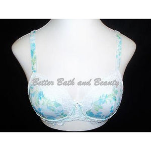 Lunaire Whimsy 15211 Barbados Sexy Basic Semi Sheer Lace UW Bra 34C Blue Floral - Better Bath and Beauty