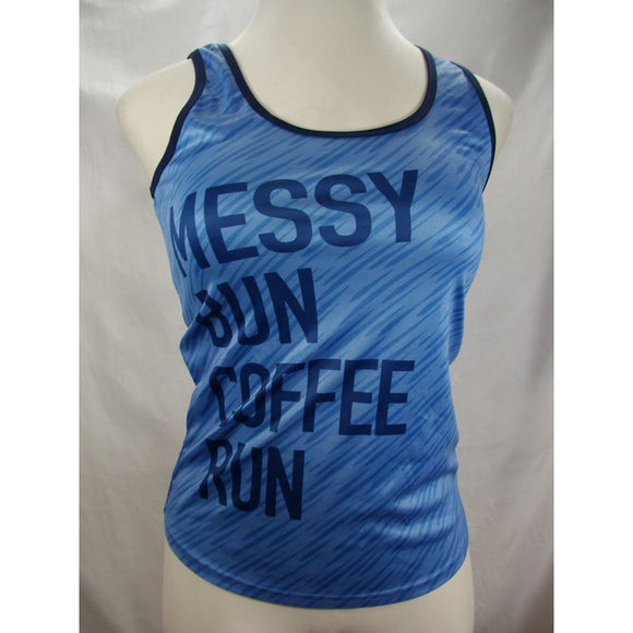 Made Right Womens Graphic Tank Top Size MEDIUM Light Blue MESSY BUN COFFEE RUN - Better Bath and Beauty