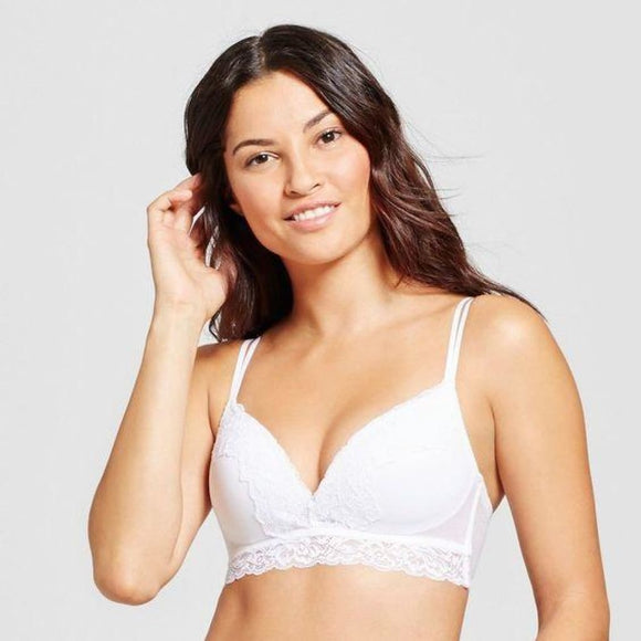 Maidenform SE1130 Self Expressions Show Off Foam Wire Free Lace Bralette 34C White - Better Bath and Beauty