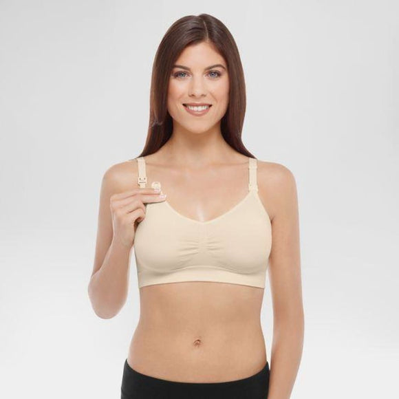 Medela Basics Collection Seamless Maternity Nursing Wire Free Bra Size XL X-LARGE Ivory NWT - Better Bath and Beauty