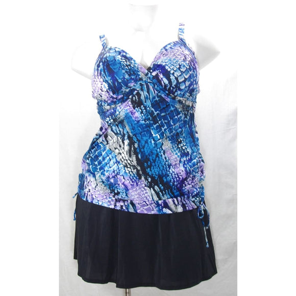 Miraclesuit 370000 PLUS All Rattled Up Twisted Bodice 2PC Tankini Swim Suit 18W - Better Bath and Beauty
