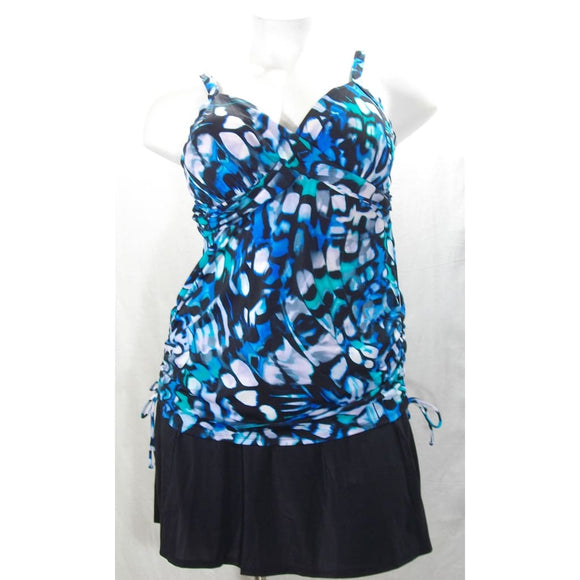 Miraclesuit 370400 PLUS Blue Multicolor Twisted Bodice 2PC Tankini Swim Suit 22W - Better Bath and Beauty