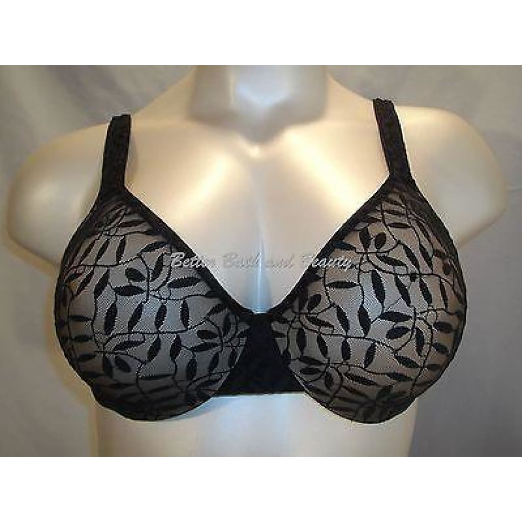 fccbf73cd6 Olga 35519 Lace Sheer Leaves Underwire Minimizer Bra 34C Black NWT - Better  Bath and Beauty ...