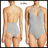 Sam Edelman Strappy Back Bodysuit SIZE SMALL Heather Gray NWT - Better Bath and Beauty